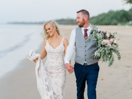 Bride & Groom on Hervey Bay beach