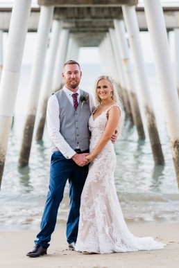 Bride & Groom under Hervey Bay pier