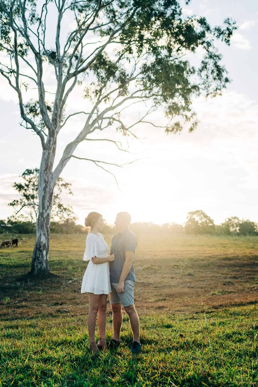 Couple under ghost gum at Benaraby