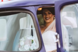 Bride sitting in truck