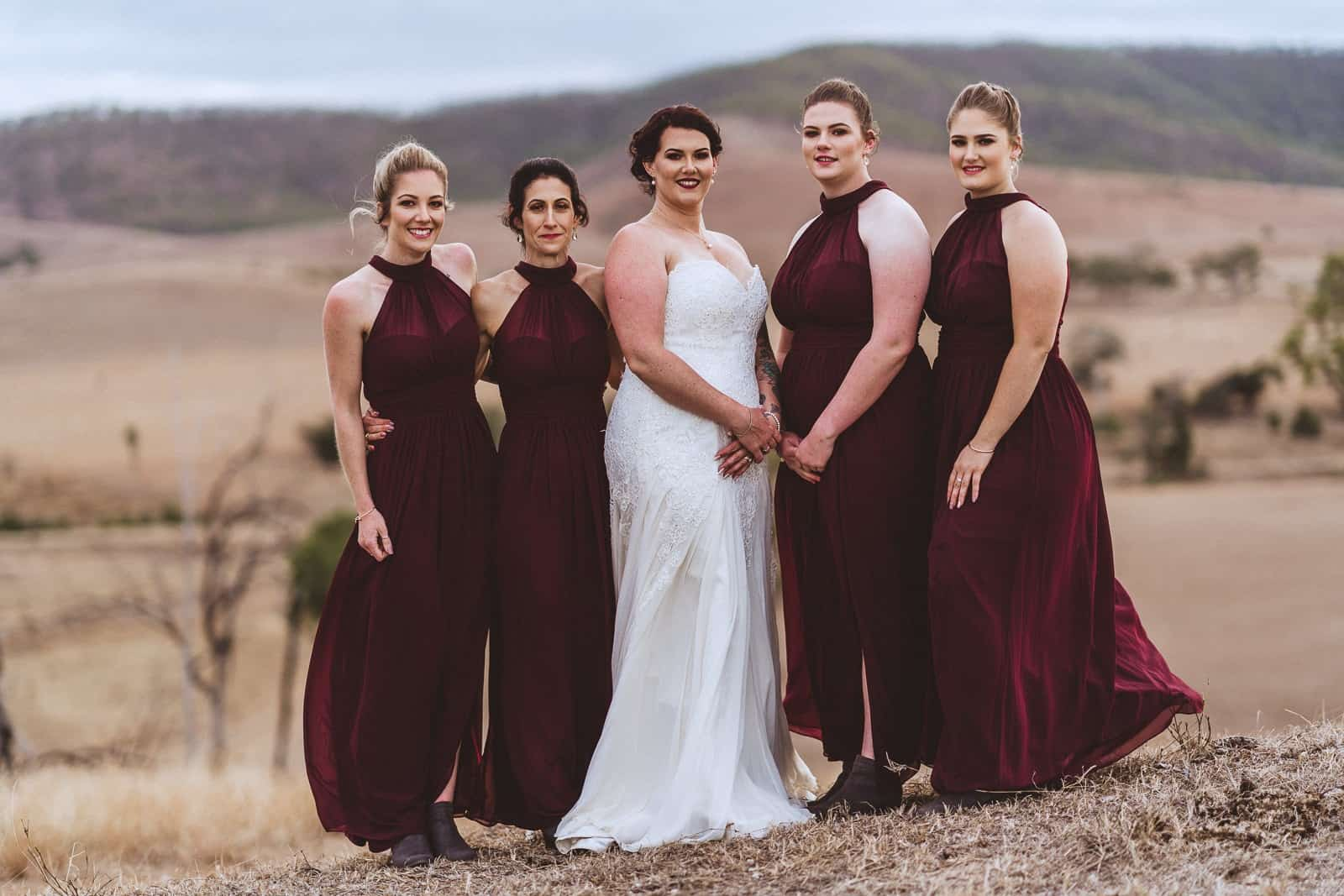 Bride and bridesmaids at Old Station