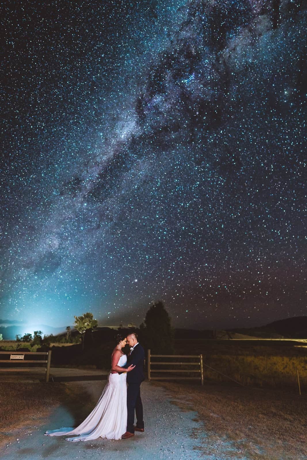 Bride & Groom under the milky way at Old Station wedding