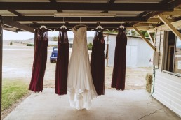 Hanging wedding dresses at Old Station