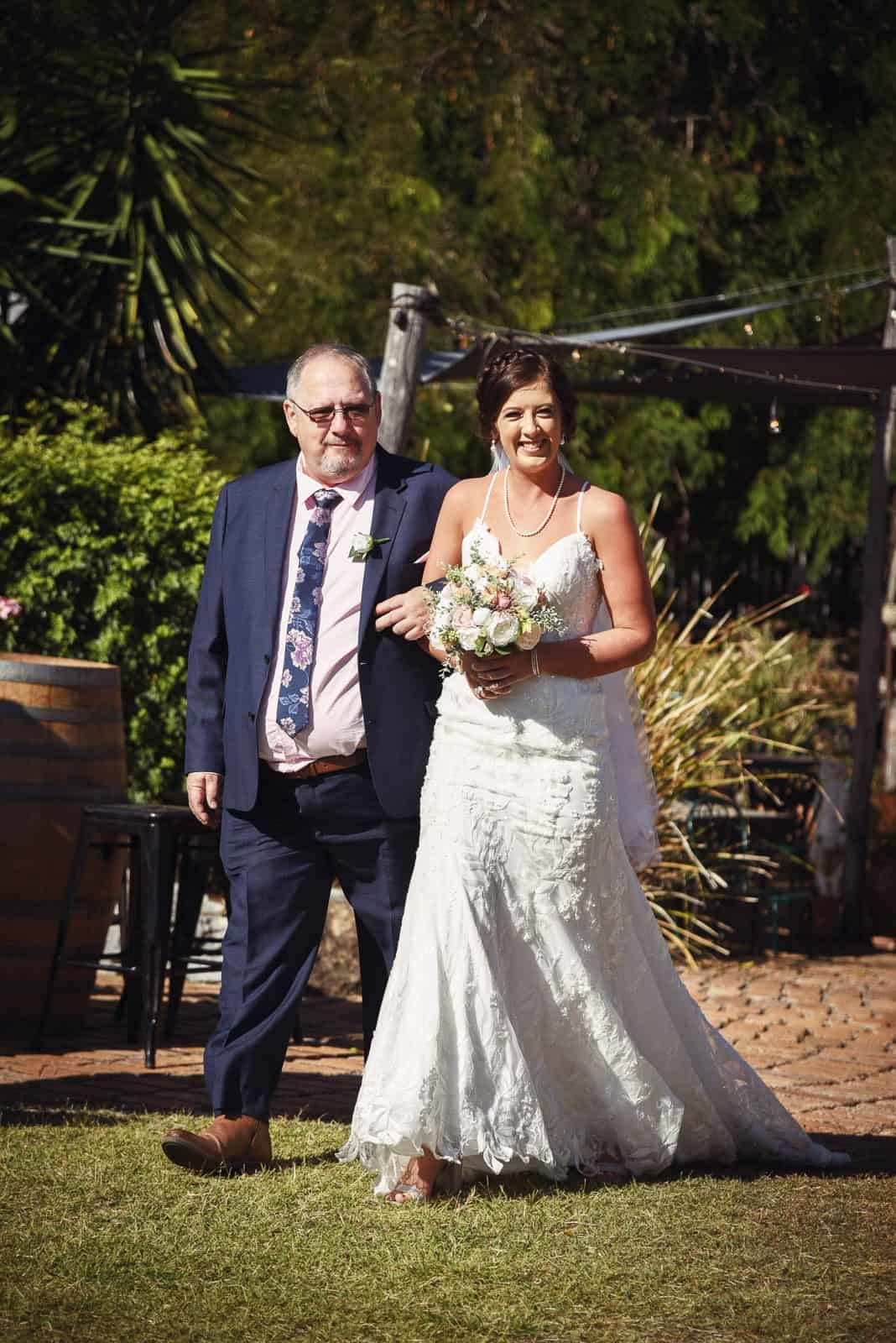 Bride and father at Glenmore Homestead