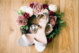 Bridal bouquet with shoes and perfumne