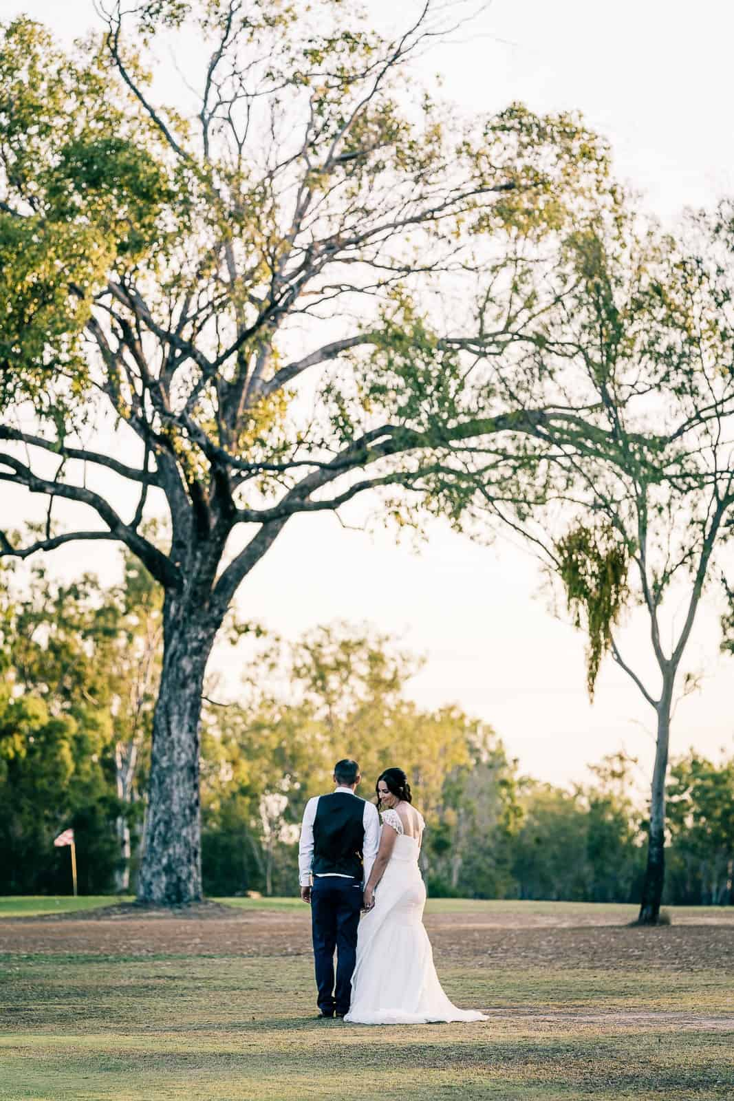bride and groom at gracemere golf course